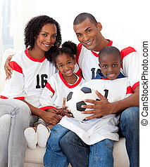 Happy Afro-american family