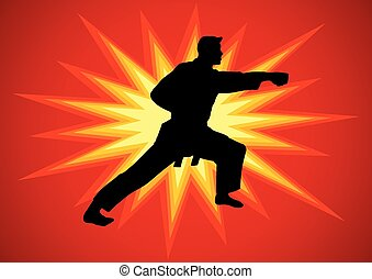Karateka - Silhouette illustration of martial artist with...