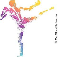 Kick Boxing - Sketch illustration of a kick boxer