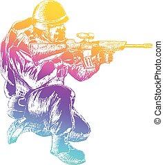 Soldier Kneeling - Sketch illustration of a soldier kneel...
