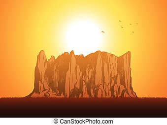 Canyon Rock - Sketch illustration of a rocky mountain