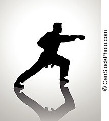 Karateka - Silhouette illustration of martial artist