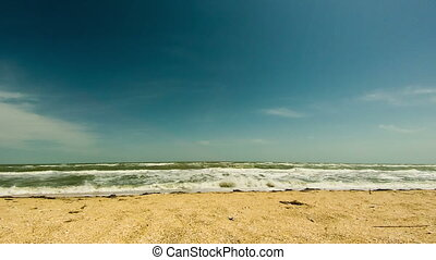 Beach and waves on the coast. - Shelly (sandy) beach and the...