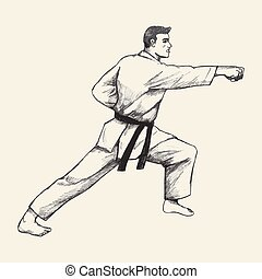 Karateka - Positions of martial artist in traditional suit