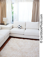 High angle of a living-room with a white couch