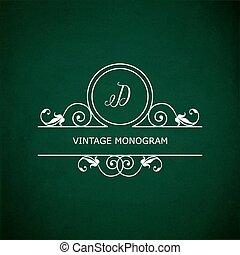 Monogram D on chalkboard