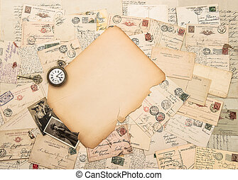 Old paper piece, antique accessories and postcards....