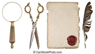 Paper sheet with wax seal, ink feather pen, loupe and...