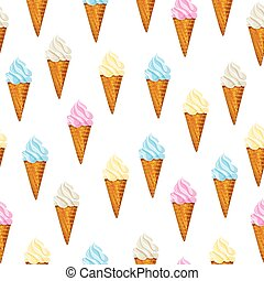 Seamless vector background Ice cream waffle cone. - Seamless...