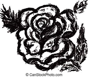 Rose Sketch - Grunge decorative sketch of a rose with leaves...