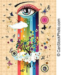 Surreal Eye - Surreal illustration with eye of blue and red...