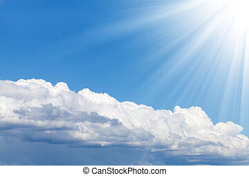 Blue sky, sun and clouds with copy space - Blue sky, sun and...