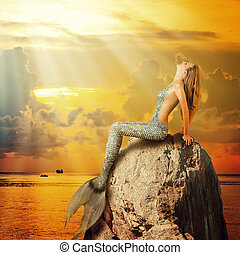 bonito, sereia, sentando, ligado, Um, rocha,