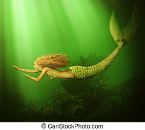 Fantasy beautiful woman mermaid with fish tail and long...