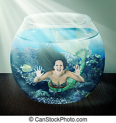 evil mermaid in fishbowl with fish on table - evil mermaid...