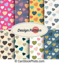 Scribble hearts pattern set