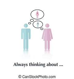 Always thinking about - Vector people icon,pictogram.Concept...