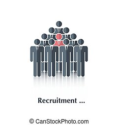 Recruitment - Vector black people icon,pictogramConcept...