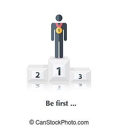 Be first - Vector black people icon,pictogramConcept first...