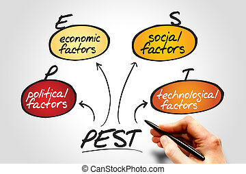 PEST Analysis flow chart, business concept