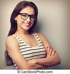 Happy successful young woman in glasses looking Vintage...