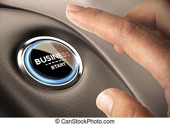 Create New Business Concept - Finger pressing business...