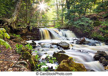 Upper Chapel Falls - Pictured Rocks National Lakeshore -...