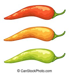 Red, yellow, green hot chili peppers on white .