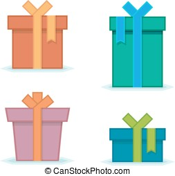 Gift box with bow - Flat gift box icon set Gift package Flat...