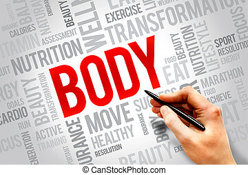 BODY word cloud, fitness, sport, health concept