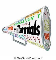 Millennials Bullhorn Megaphone Marketing Advertising...