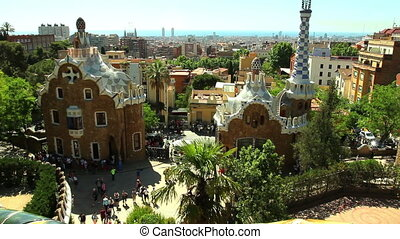 The Park Guell aka Parc Guell - BARCELONA, SPAIN - 20 MAY,...