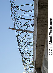 The barbwire - Concrete fence with a barbed wire against the...