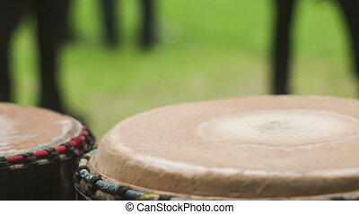 Playing on the drum - An adult man playing on drums....