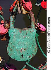 Big grunge green heart lock romance love taken closeup - Big...