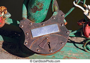 Big grunge rusty heart lock romance love taken closeup - Big...