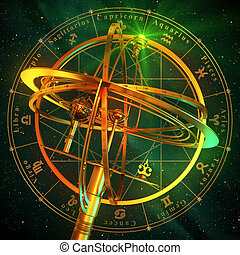 Armillary Sphere With Zodiac Symbols Over Green Background....