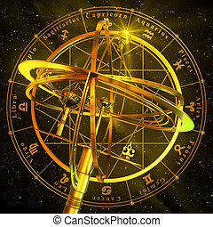 Armillary Sphere With Zodiac Symbols Over Black Background...