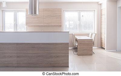 Wooden island in kitchen
