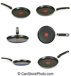 Frying pan collection isolated