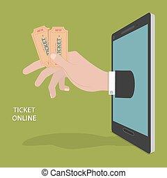 Online Ticket Order Vector Concept.