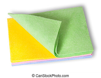 Multicolored cleaning cloths folded on top isolated on white...