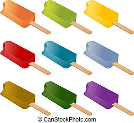 Frozen popsicle ice cream lolly treats many different colors