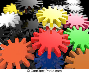 Colorful 3d gears