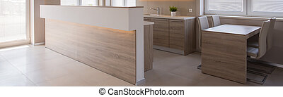 Enormous cooking room - Panoramic photo of enormous wooden...