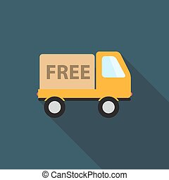 Free Delivery Icon with Long Shadow, Vector Illustration