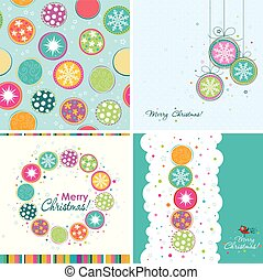 Template Christmas greeting cards, bauble pattern, vector...