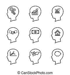 Set of people head line icon, thinking of the brain,business concept, isolated on white background 006