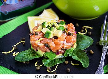 Salmon and avocado tartare - Tasty salmon and avocado...
