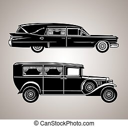 Vintage Hearses - A set of old fashioned funeral cars